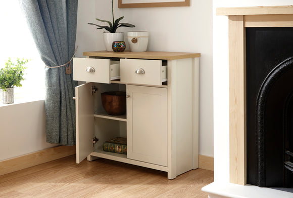 Lancaster 2 Door 2 Drawer Compact Sideboard in Cream With Oak Effect Top