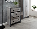 Loft Style Bedroom 4 Piece Set Inc Wardrobe, Drawers and 2 Bedsides Distressed Effect in Grey