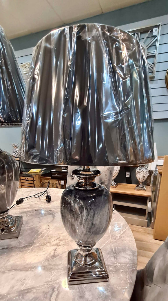 Black/Grey Marble Effect Medium Lamp With Lamp Shade