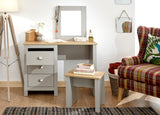 Lancaster Dressing Table Set inc Mirror & Stool in Grey With Oak Effect Tops