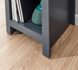 Lancaster Side Table With Shelf in Slate Blue With Oak Effect Top