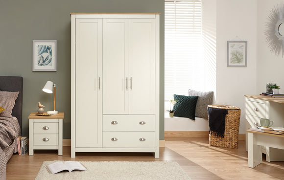 Lancaster 3 Door 2 Drawer Wardrobe in Cream With Oak Effect Tops