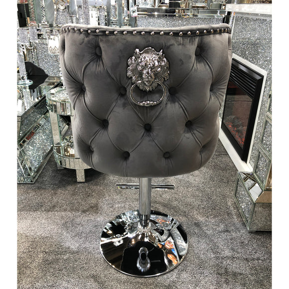 Valentino Plush Velvet Grey Barstool With Lion Knocker & Buttoned Back