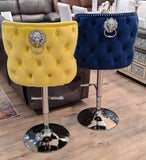 Valentino Plush Velvet Sunshine Yellow Barstool With Lion Knocker & Buttoned Back