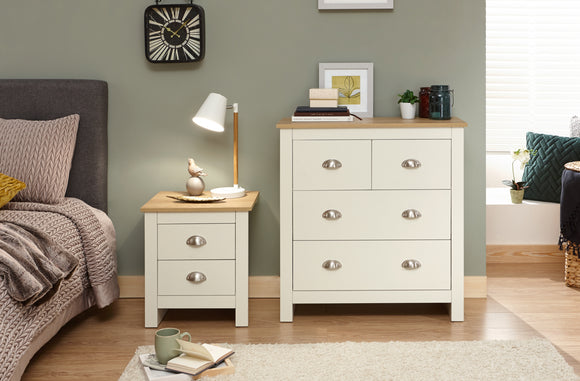 Lancaster 2 over 2 Chest of Drawers in Cream With Oak Effect Tops