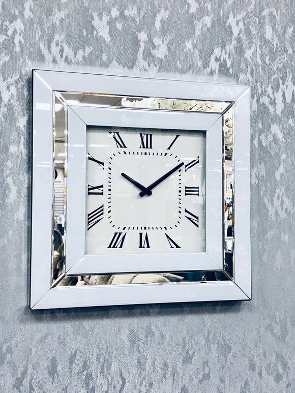 Annabelle White Mirrored Glass Square Clock