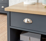 Lancaster Lamp Table in Slate blue With Oak Effect Top