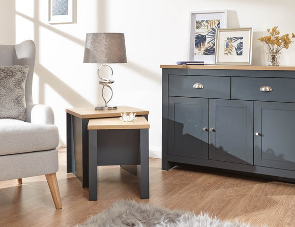 Lancaster Nest of 2 Tables in Slate Blue With Oak Effect Top