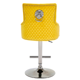 Majestic Mustard French Plush Velvet Bar Stool With Lion Knocker Back