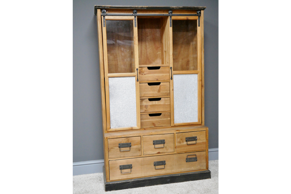 Industrial Vintage Retro Display Cabinet With Doors And Drawers