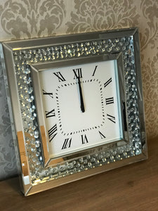 50x50cm Floating Crystal Mirrored Wall Clock
