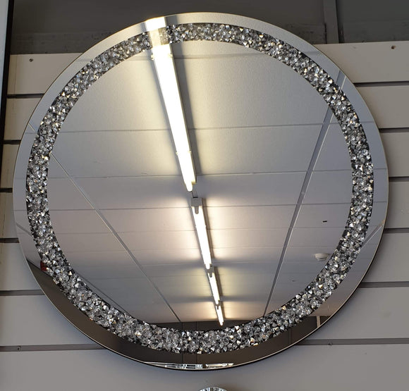 Crushed Diamond Mirrored Large Round Wall Mirror