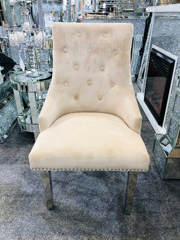 Luxury Majestic Premium French Mink Plush Velvet Dining Chair With Lion Knocker Back
