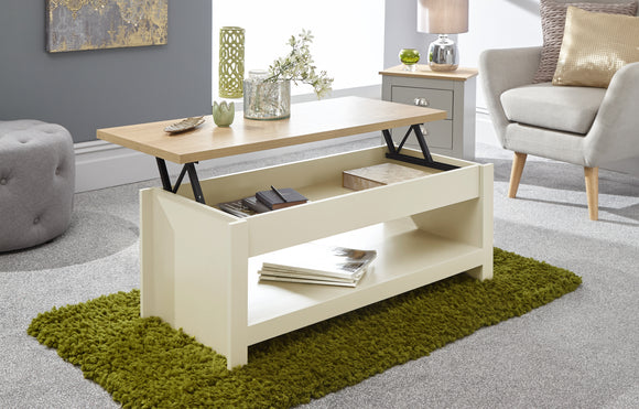Lancaster Lift Up Coffee Table in Cream With Oak Effect Top