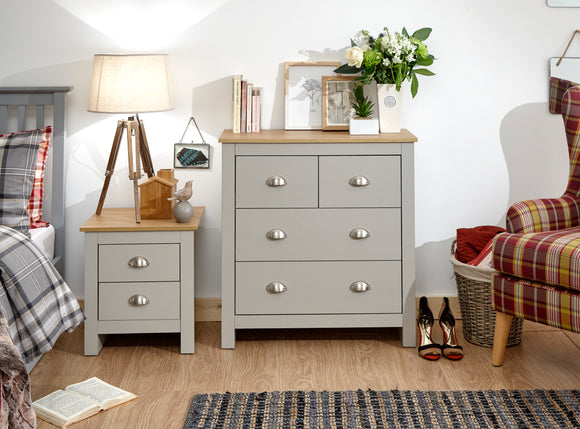 Lancaster 2 over 2 Chest of Drawers in Grey With Oak Effect Tops