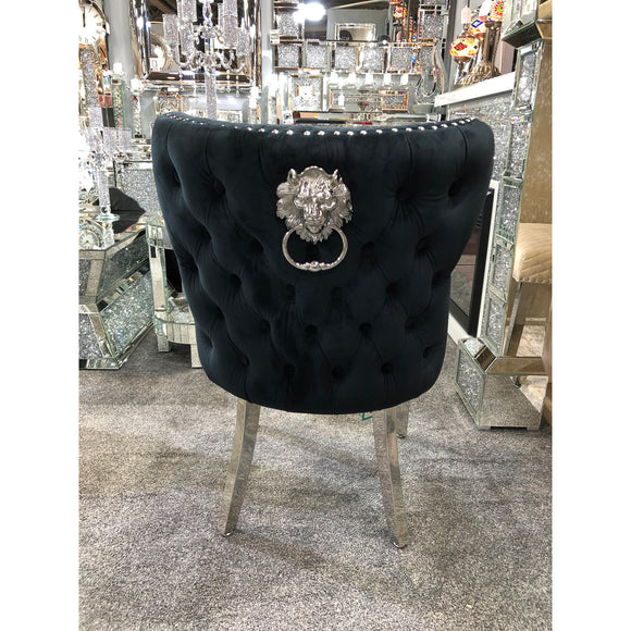 Valentino Premium French Black Plush Velvet Dining Chair With Lion Knocker & Buttoned Back