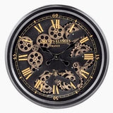 BLACK AND GOLD MEDIUM MOVING GEARS CLOCK