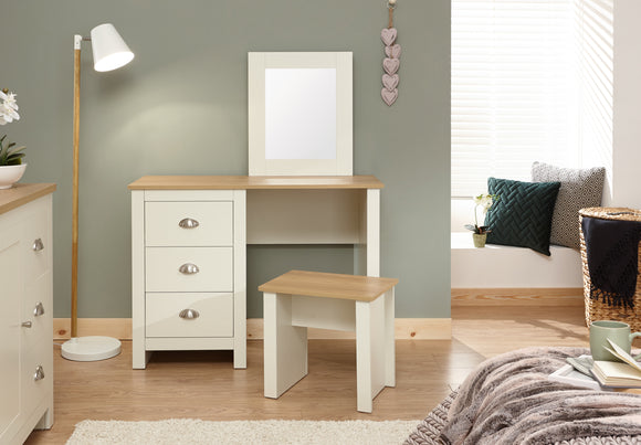Lancaster Dressing Table Set inc Mirror & Stool in Cream With Oak Effect Tops