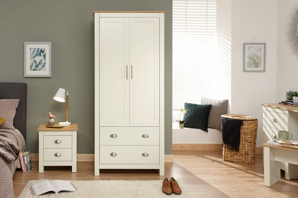 Lancaster 2 Door 2 Drawer Wardrobe In Cream With Oak effect Tops