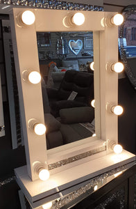 Crushed Diamond White Mirrored Glass 9 Bulb Hollywood Dressing Table Mirror