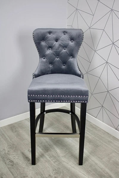 Grey Plush Velvet Bar Stool With Ring Knocker