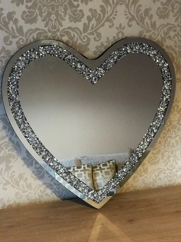 Gatsby Crushed Diamond Mirrored Love Heart Large Mirror