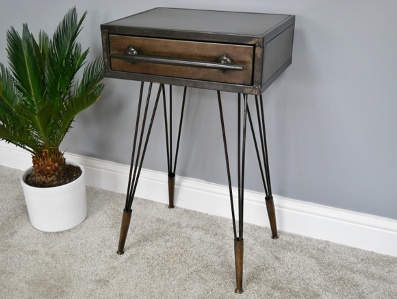 Industrial Vintage Retro Metal Bedside With 1 Drawer
