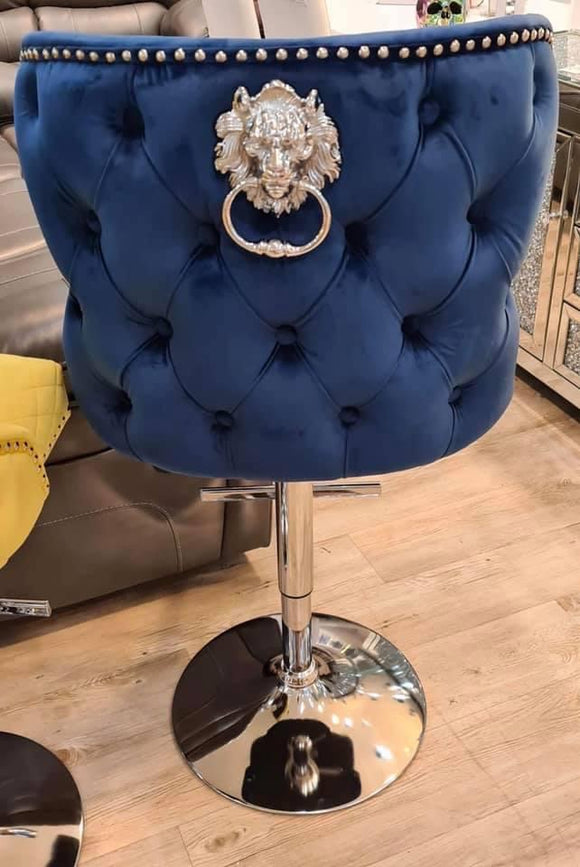 Valentino Plush Velvet Blue Barstool With Lion Knocker & Buttoned Back