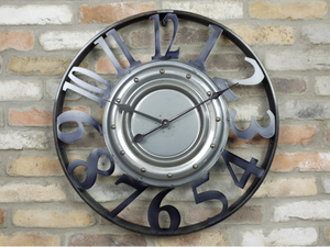 Industrial Vintage Retro Large Metal Round Clock