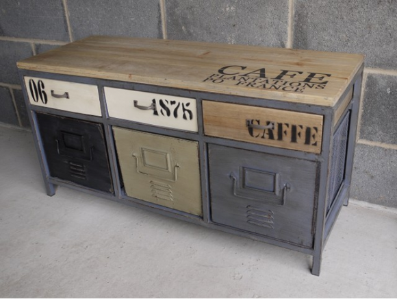 Industrial Vintage Retro Metal Set Of Drawers With Wooden Top