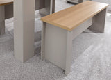Lancaster Grey Dining Table With Oak Effect Top And 2 Benches