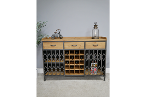 Industrial Metal And Wood Wine Cabinet Sideboard Bar