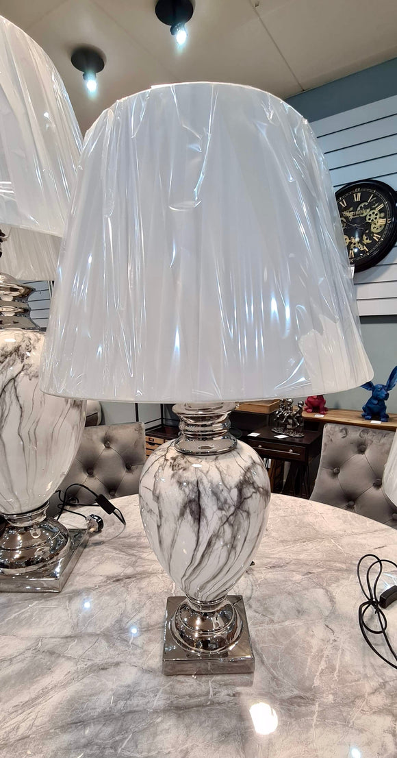 White Marble Effect Large Lamp With Lamp Shade