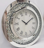 Rhombus Floating Crystal Large Round Clock