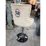 Majestic Mink French Plush Velvet Bar Stool With Lion Knocker Back
