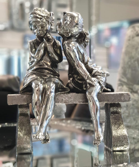 Electroplated Silver Boy Kissing Girl on Bench Ornament