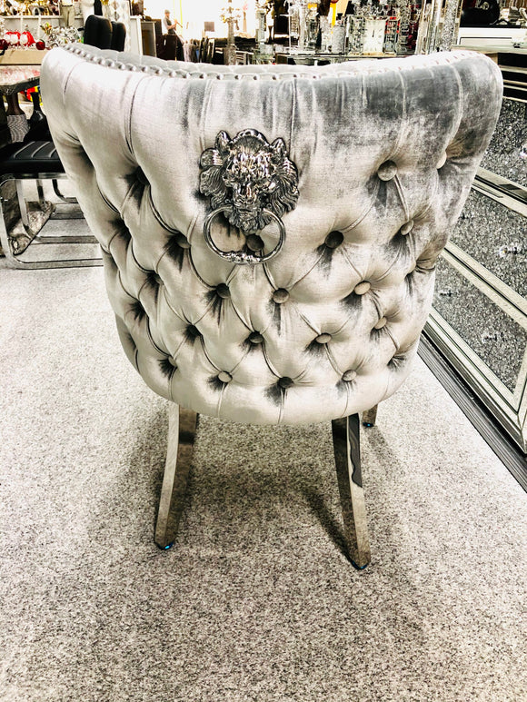 Valentino Premium French HQ Silver Plush Velvet Dining Chair With Lion Knocker & Buttoned Back