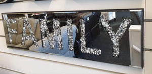 Crushed Diamond Mirrored Word Deco Family Wall Plaque
