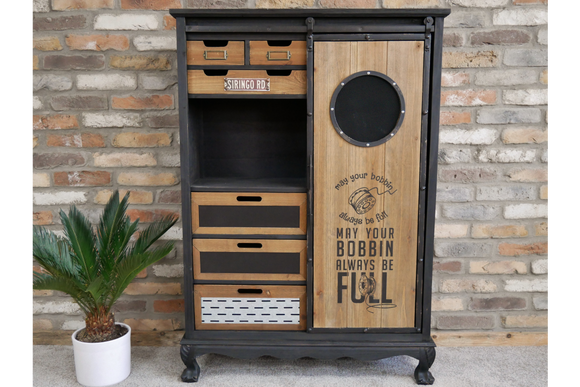 Industrial Vintage Retro Cabinet Sideboard With Sliding Door, Drawers and Shelf