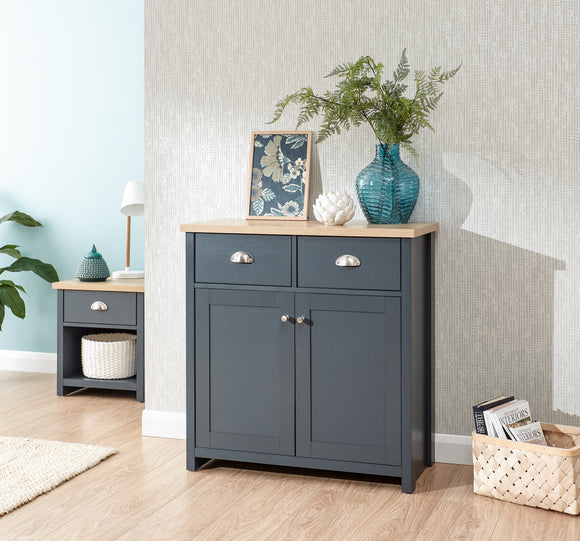 Lancaster 2 Door 2 Drawer Compact Sideboard in Slate Blue With Oak Effect Top
