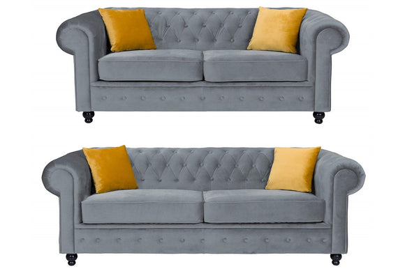 Hilton Asphalt Chesterfield Sofa Plush Velvet - Various Sizes