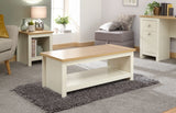 Lancaster Coffee Table With Shelf In Cream With Oak Effect Top