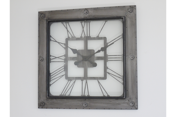 Industrial Vintage Retro Huge Square Clock
