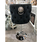 Valentino Plush Velvet Black Barstool With Lion Knocker & Buttoned Back
