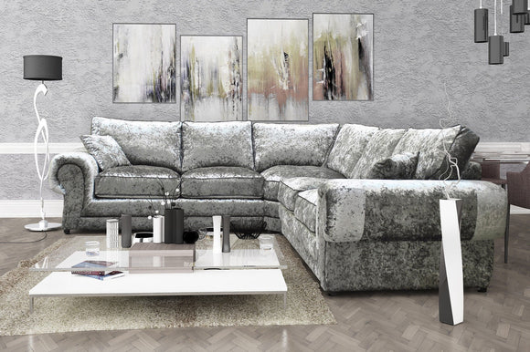 Tango XL Crushed Velvet Corner Sofa - Various Colours