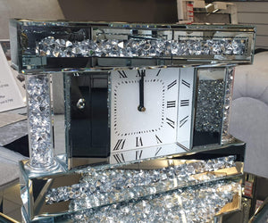Gatsby Crushed Diamond Mirrored Square Table Mantle Clock