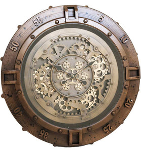 ROUND CIRCLE NAUTICAL MOVING GEARS CLOCK STEAM PUNK