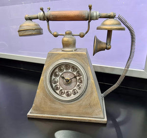 Metal Antique Style Ornamental Telephone With Clock Dial.