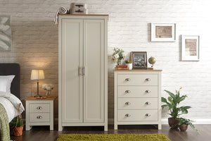 Lancaster 3 Piece Bedroom Set Including Wardrobe Drawers & Bedside In Cream With Oak Effect Top
