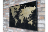 Black & Gold Metal Map of The World Wall Art